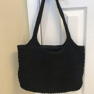 THE SAK Brown Crochet Knit Shoulder Bag Handbag